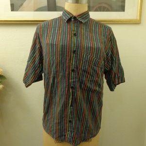 Vintage Multi colored Striped Short Sleeve Shirt